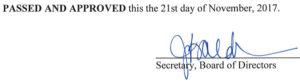 October 12, 2017 Minutes Signature
