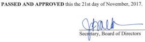 October 17, 2017 Minutes Signature