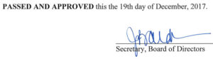 November 9, 2017 Minutes Signature
