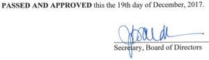 November 21, 2017 Minutes Signature
