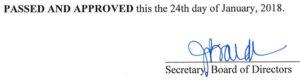 December 19, 2017 Minutes Signature