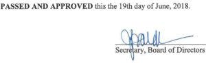 May 15, 2018 Minutes Signature