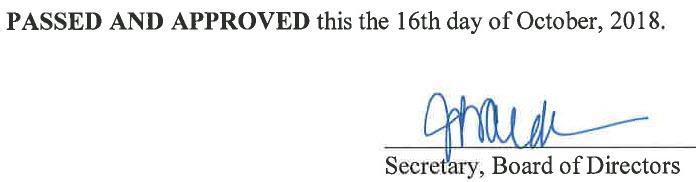 September 18, 2018 Minutes Signature