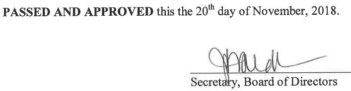 October 16, 2018 Minutes Signature