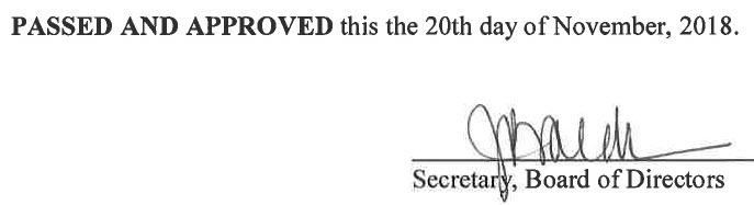 October 3, 2018 Minutes Signature