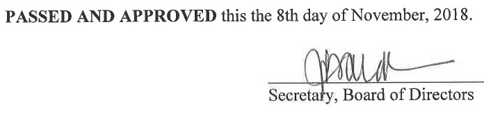 October 11, 2018 Minutes Signature