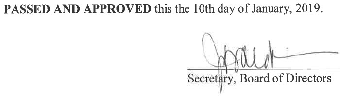 December 13, 2018 Minutes Signature