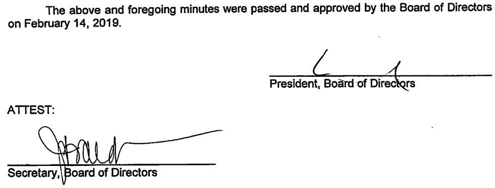 January 28, 2019 Minutes Signature