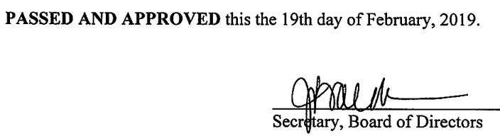 January 9, 2019 Minutes Signature
