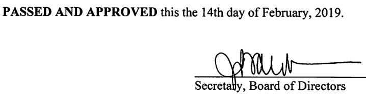 January 10, 2019 Minutes Signature