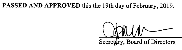 January 15, 2019 Minutes Signature