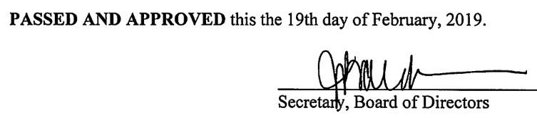 January 21, 2019 Minutes Signature