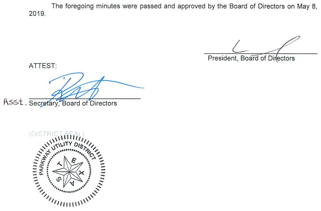 April 10, 2019 Minutes Signature